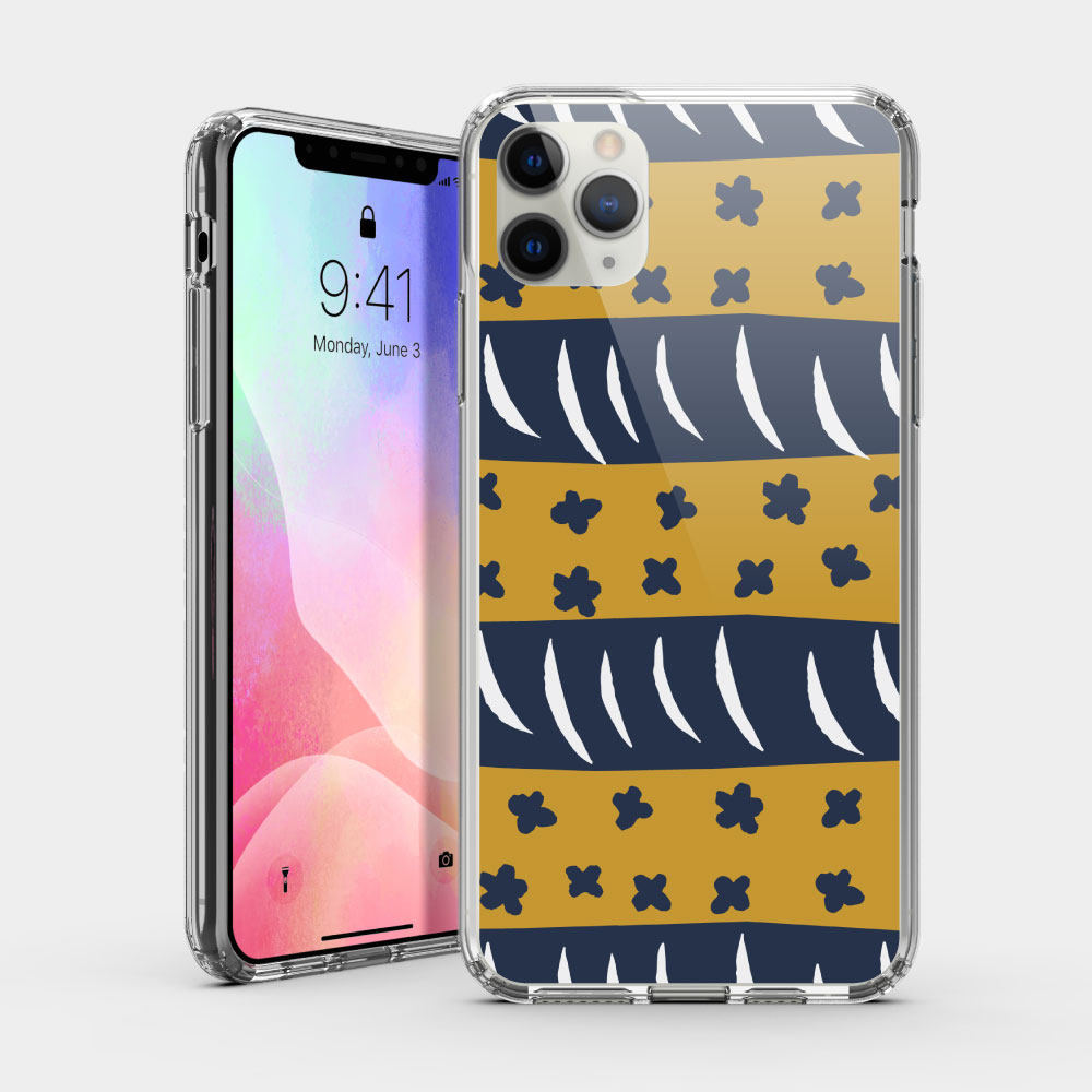 小花周旋(棕藍) iPhone 耐衝擊防摔保護殼