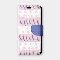 小花周旋(粉白)手機翻蓋保護皮套