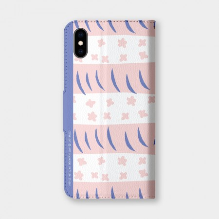 [本島舍] 小花周旋(粉白)手機翻蓋保護皮套