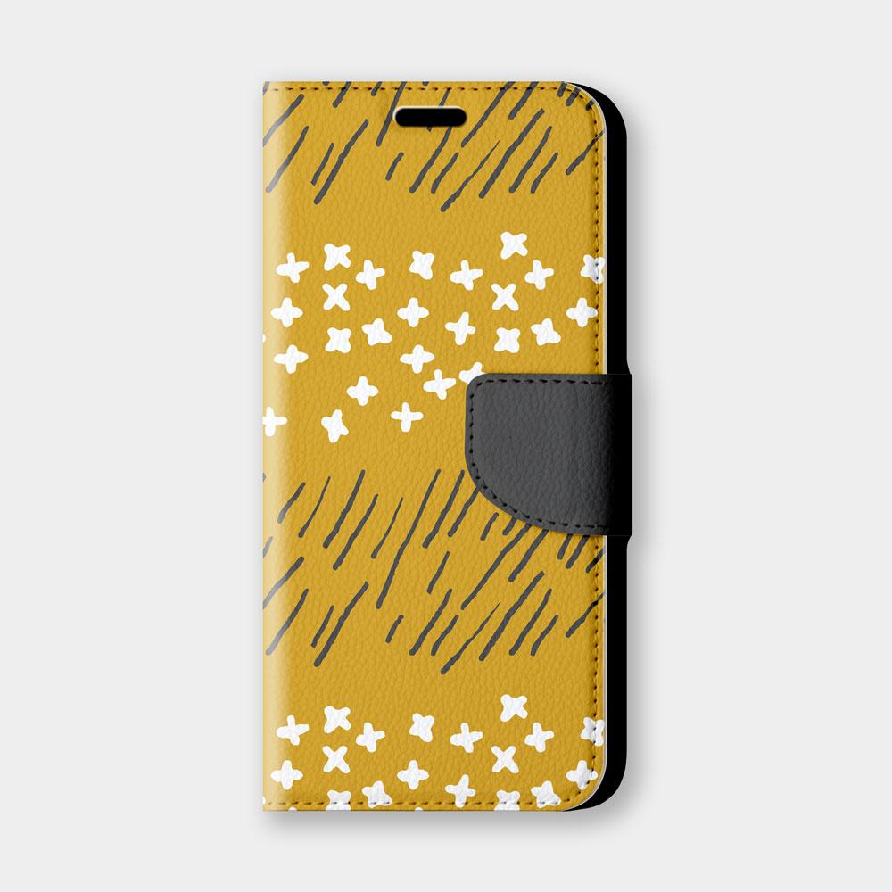 [本島舍] 草白花(朝陽橘)手機翻蓋保護皮套