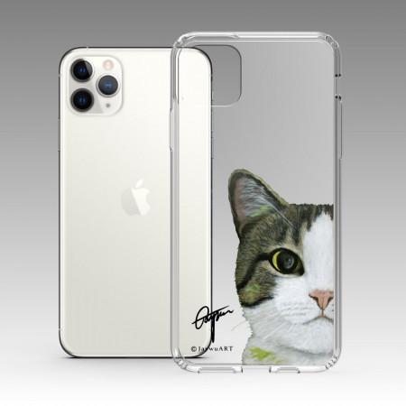 一伴系列-白底虎斑貓 iPhone 耐衝擊保護殼
