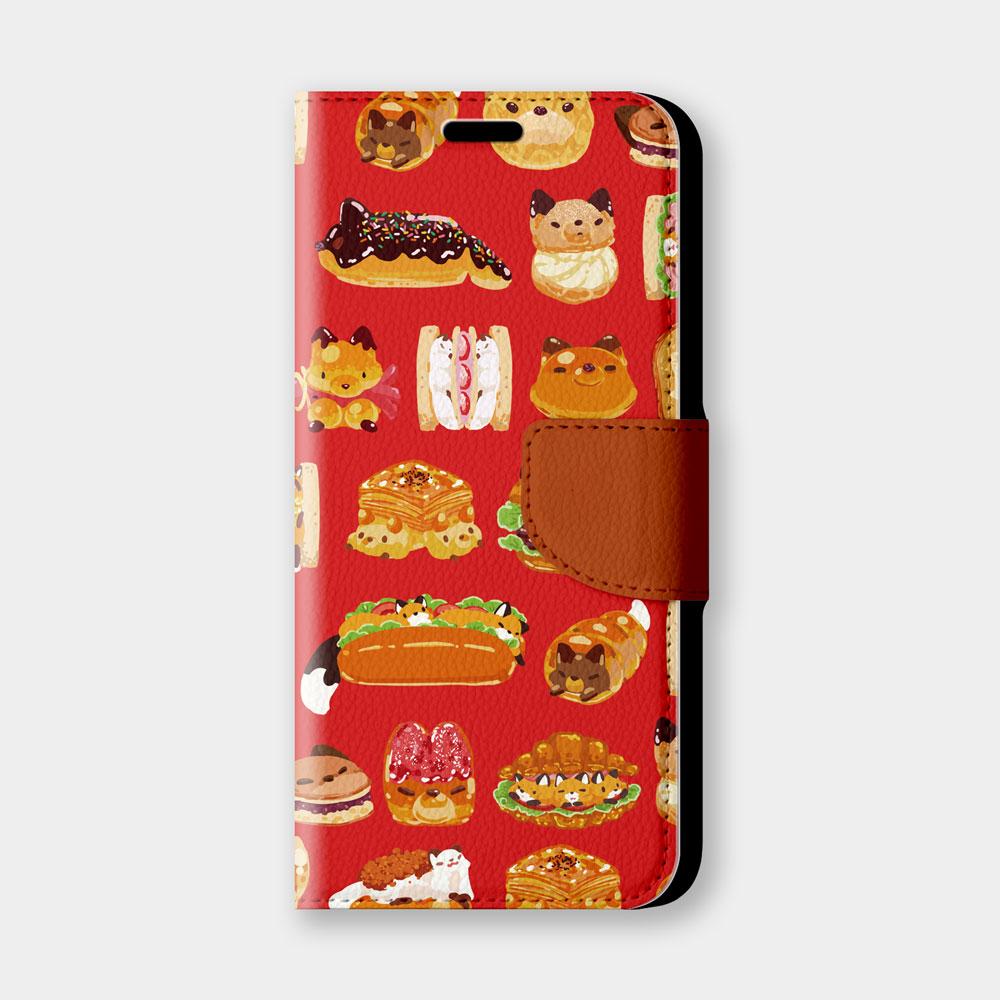 紅色麵包手機翻蓋保護皮套 療癒萌系小狐狸,超過200種機型全面防護!