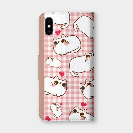 [肉球 paw pad] 滿版肉肉格紋手機翻蓋保護皮套