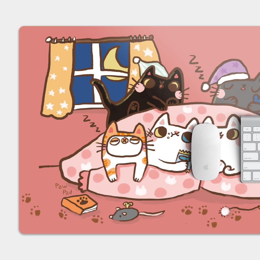[肉球 paw pad] 貓貓暖暖睡一起 電競滑鼠墊