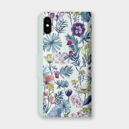 [露台上的波麗] 花の都市 日本千葉淡水色手機翻蓋保護皮套