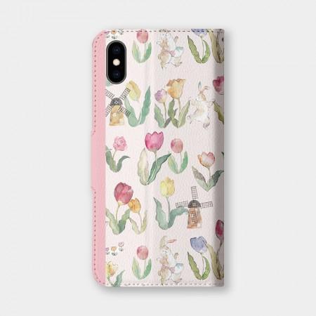 [露台上的波麗] FLOWER DANCE 花之舞鬱金香粉色手機翻蓋保護皮套