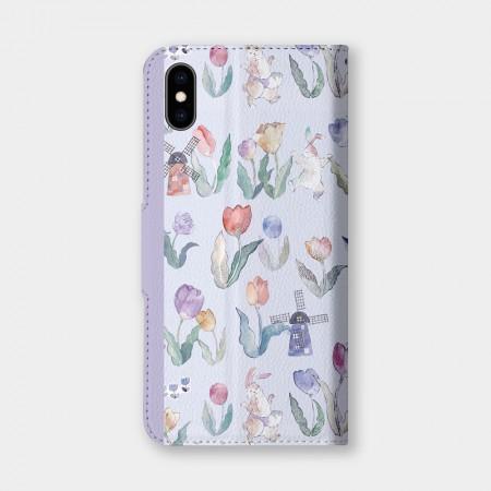 [露台上的波麗] FLOWER DANCE 花之舞鬱金香紫色手機翻蓋保護皮套