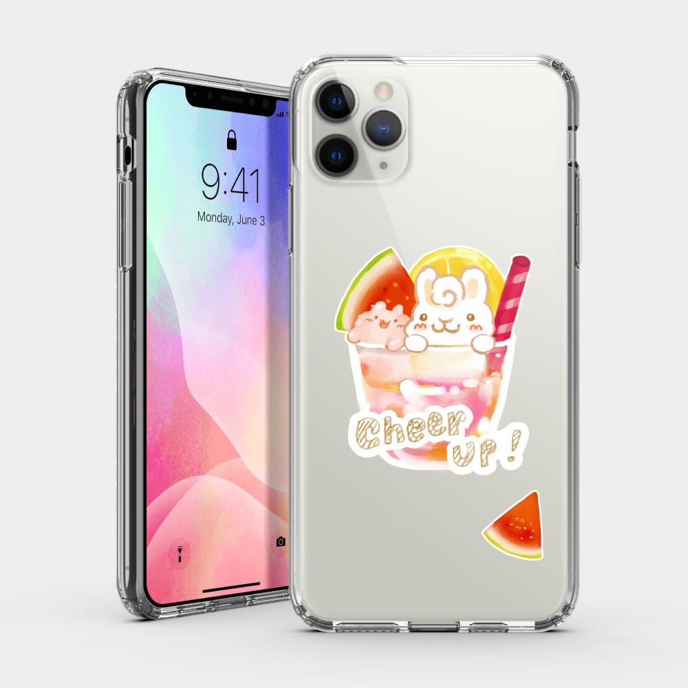 夏日冰球飲料 - 西瓜熱帶水果特調 iPhone 耐衝擊保護殼 贈送胸章或蝴蝶結緞帶