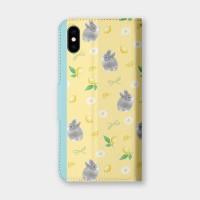 檸檬花與兔(黃)手機翻蓋保護皮套 贈送胸章