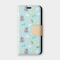 檸檬花與兔(綠)手機翻蓋保護皮套 贈送胸章