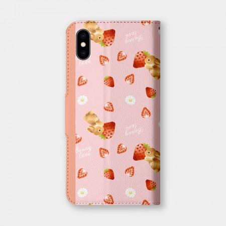 [Tilabunny 緹拉兔] 草莓花與兔手機翻蓋保護皮套