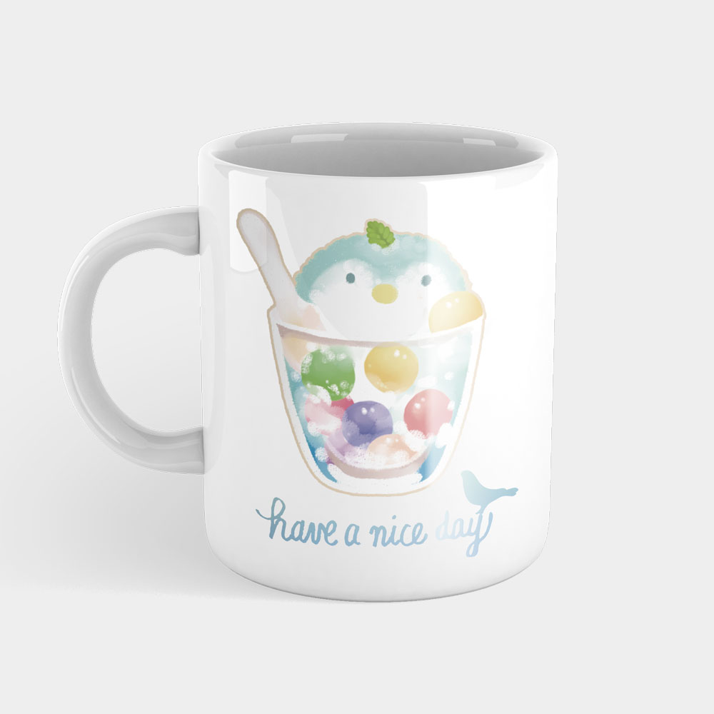 夏日冰球飲料 - 企鵝水果特調  馬克杯+杯墊組