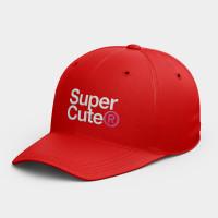 SuperCute 極度可愛  休閒棒球帽 黑灰白黃紅粉 隨機贈送胸章