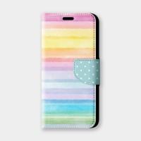 粉霧彩虹手機翻蓋保護皮套