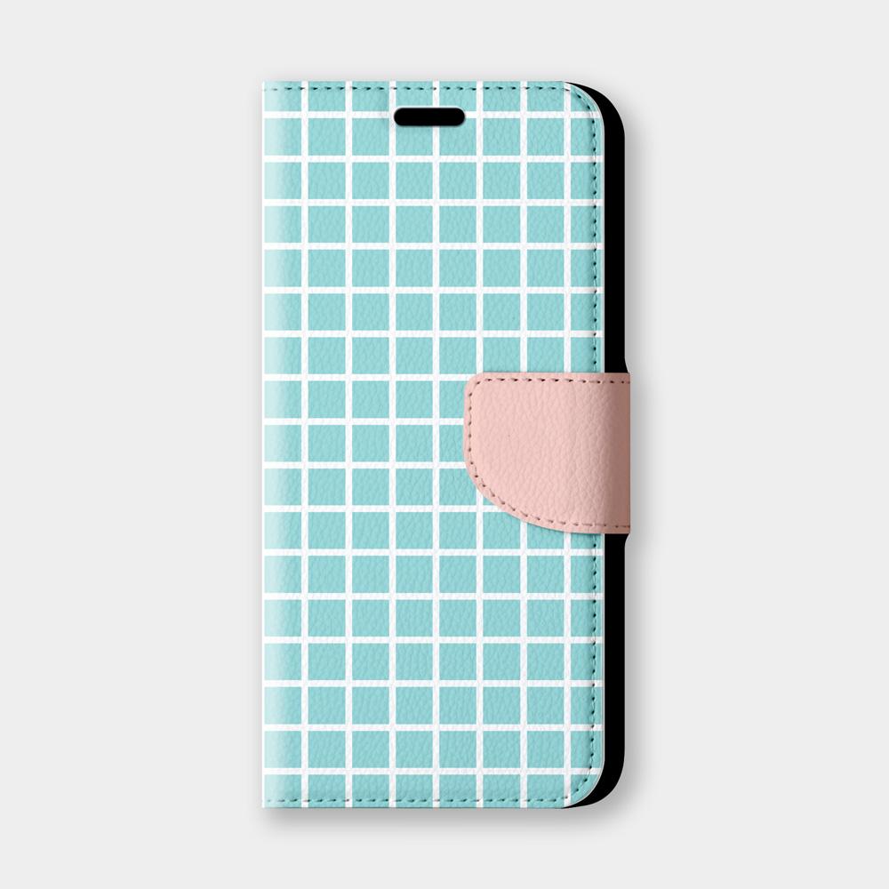 簡單小格紋手機翻蓋保護皮套