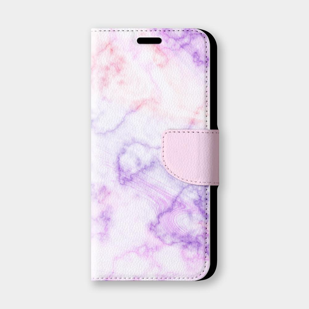 粉色大理石手機翻蓋保護皮套