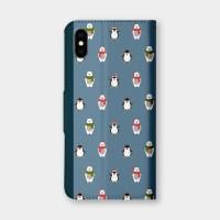 聖誕帽熊與企鵝手機翻蓋保護皮套