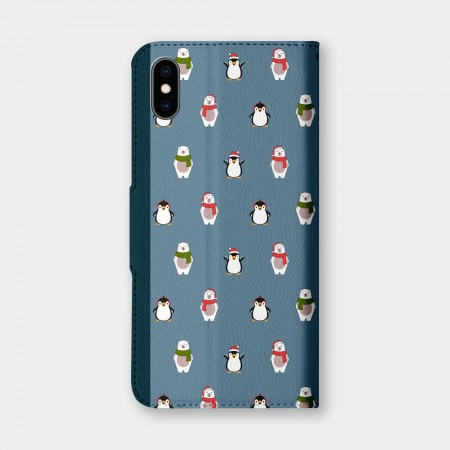 [PUPU] 聖誕帽熊與企鵝手機翻蓋保護皮套