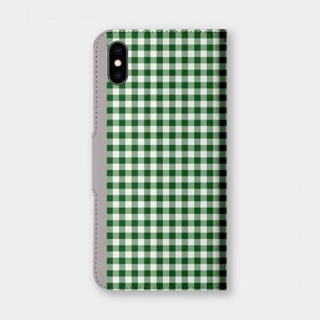清新小格紋(綠)手機翻蓋保護皮套