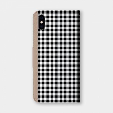 清新小格紋(黑)手機翻蓋保護皮套
