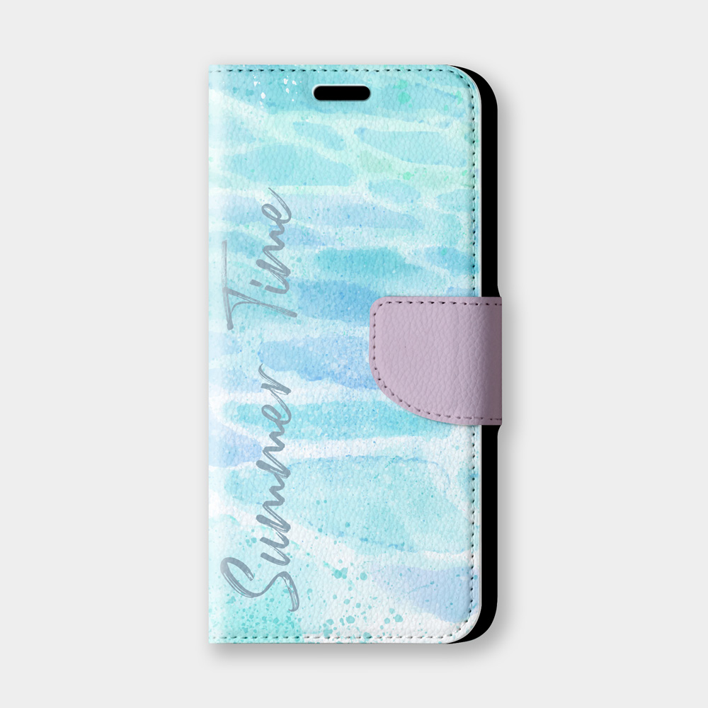 水波紋Summer Time手機翻蓋保護皮套 藍紫水紋夏季推薦,全面防護!