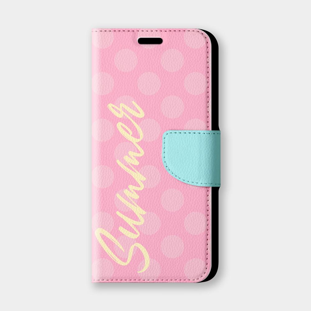粉紅圓點Summer手機翻蓋保護皮套