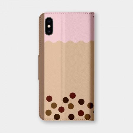 草莓珍珠奶茶手機翻蓋保護皮套