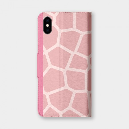 粉色長頸鹿紋手機翻蓋保護皮套