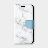 灰藍邊大理石手機翻蓋保護皮套