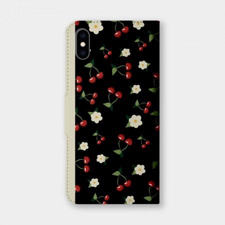 [PUPU] 櫻桃小花手機翻蓋保護皮套