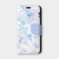 藍紫水彩手機翻蓋保護皮套
