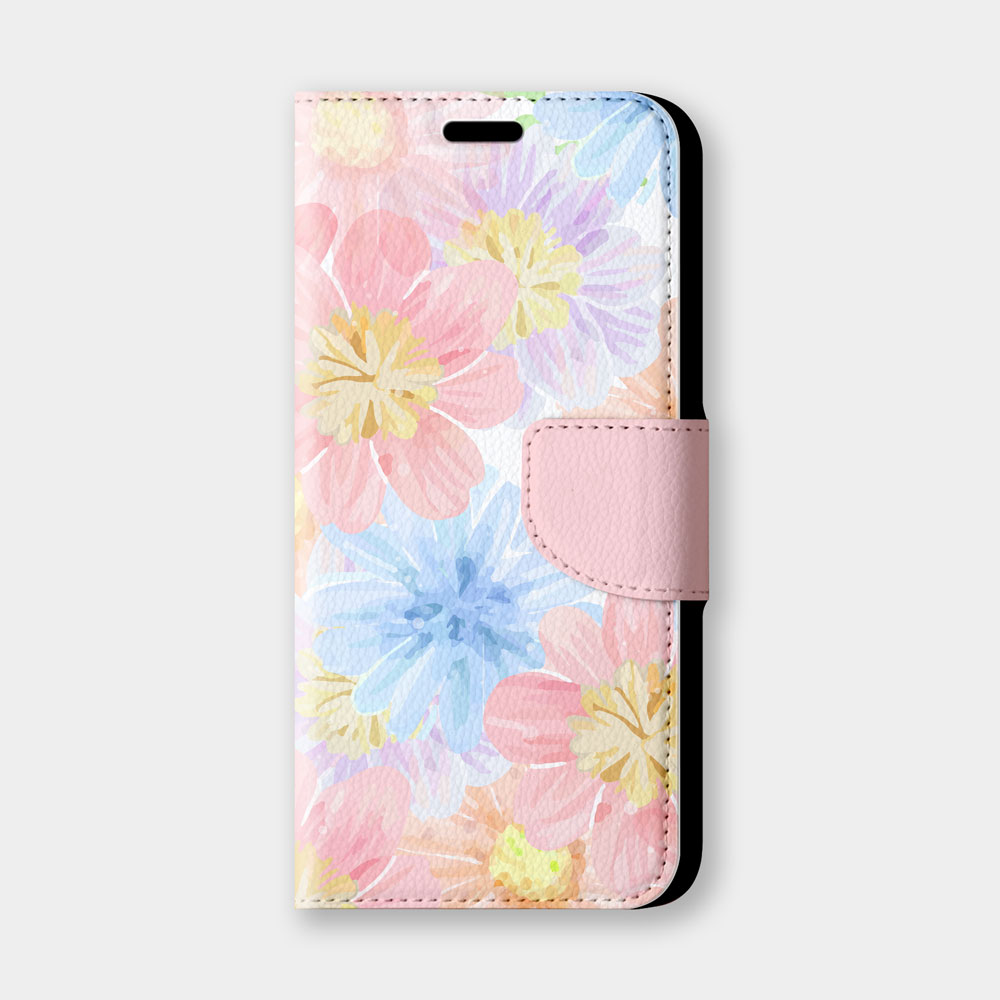 粉藍花手機翻蓋保護皮套