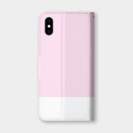 色票(淡粉)手機翻蓋保護皮套