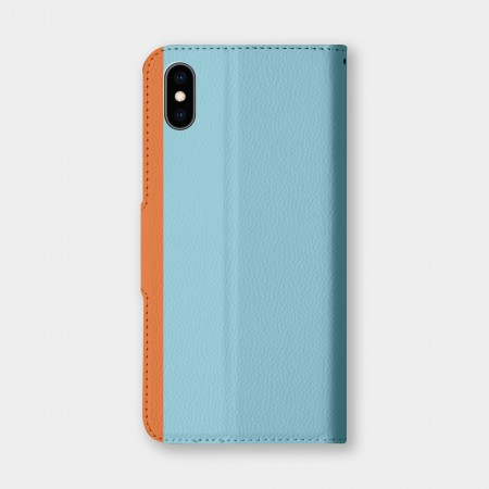 撞色(turquoise)手機翻蓋保護皮套
