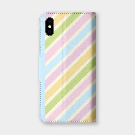 手繪線條彩虹手機翻蓋保護皮套