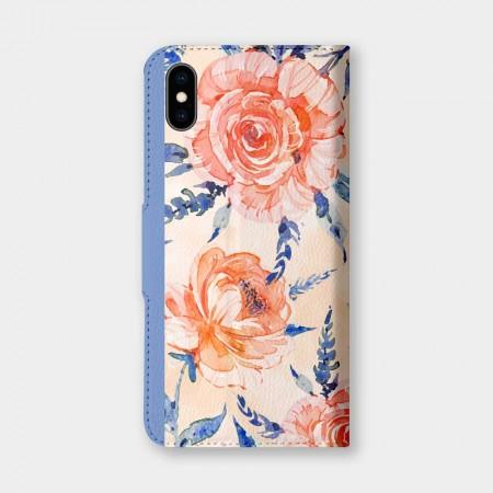 橘玫瑰手機翻蓋保護皮套