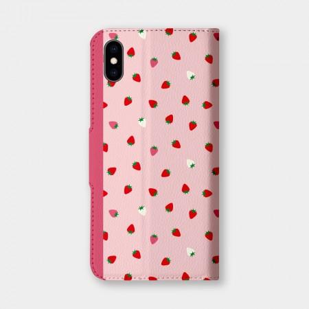 散落草莓手機翻蓋保護皮套
