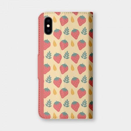 粉嫩草莓手機翻蓋保護皮套