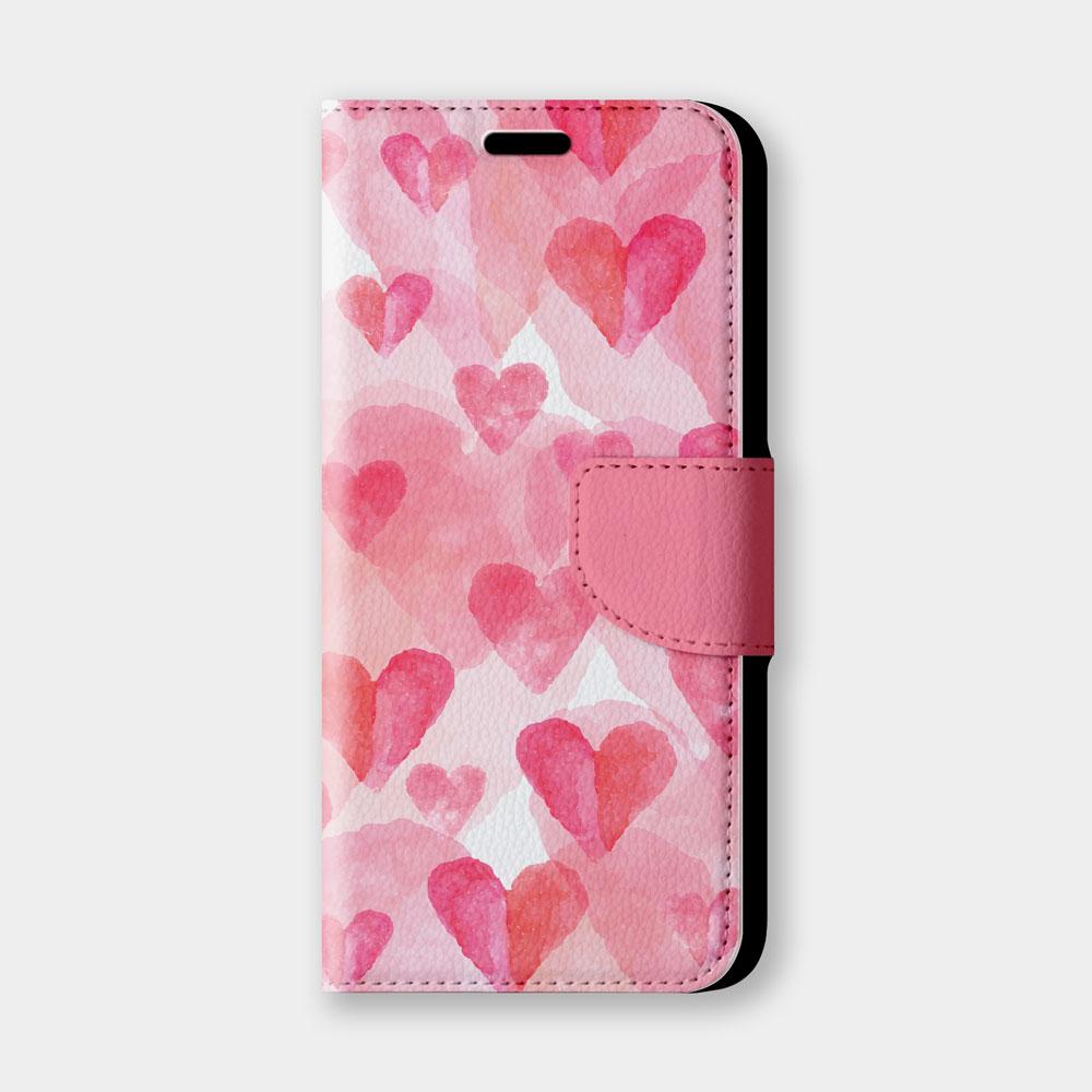 水彩愛心手機翻蓋保護皮套 情人節推薦,超過200種機型全面防護!