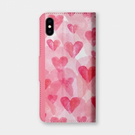 水彩愛心手機翻蓋保護皮套