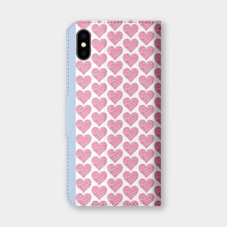 粉嫩愛心手機翻蓋保護皮套