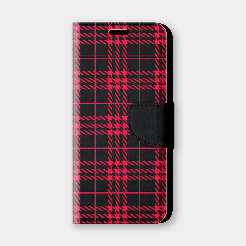 黑紅格紋手機翻蓋保護皮套