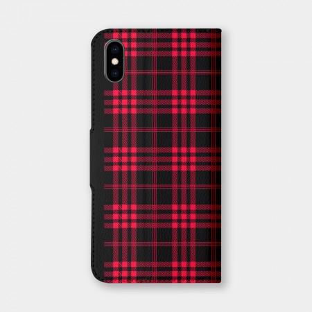 [PUPU] 黑紅格紋手機翻蓋保護皮套