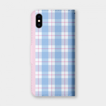 粉藍格紋 手機翻蓋保護皮套