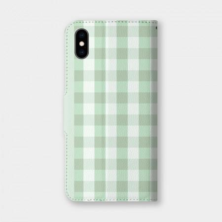 蘋果綠格紋手機翻蓋保護皮套