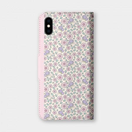 粉色碎花 手機翻蓋保護皮套