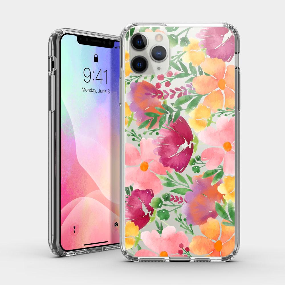 水彩花 iPhone 耐衝擊防摔保護殼 獨家贈送蝴蝶結緞帶