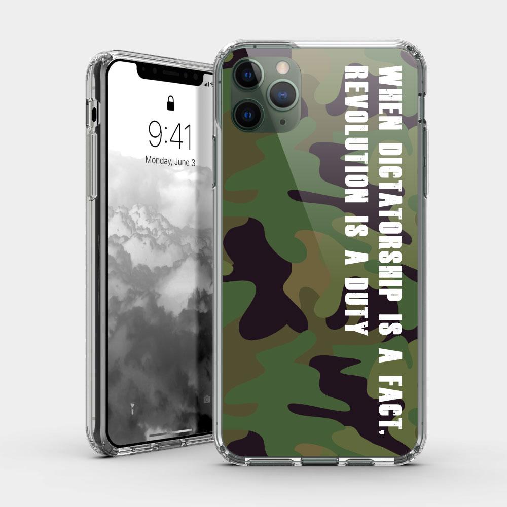 迷彩 iPhone 耐衝擊防摔保護殼 可客製化文字!贈送胸章或蝴蝶結緞帶