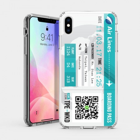 [CTRL+Z] 機票(淺藍) iPhone 耐衝擊保護殼