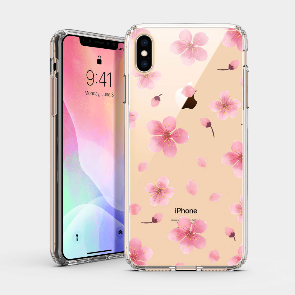 大朵櫻花 iPhone 耐衝擊防摔保護殼 粉嫩櫻花季!贈送胸章或蝴蝶結緞帶